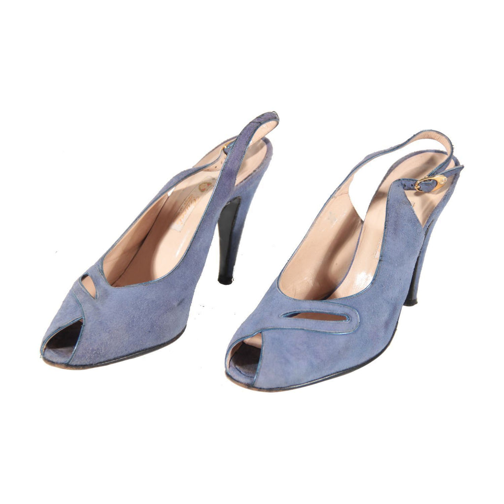 e41dd45cbf1 Gucci Vintage Light Blue Suede Slingback Shoes Heels Pumps Size 36 Opherty    Ciocci