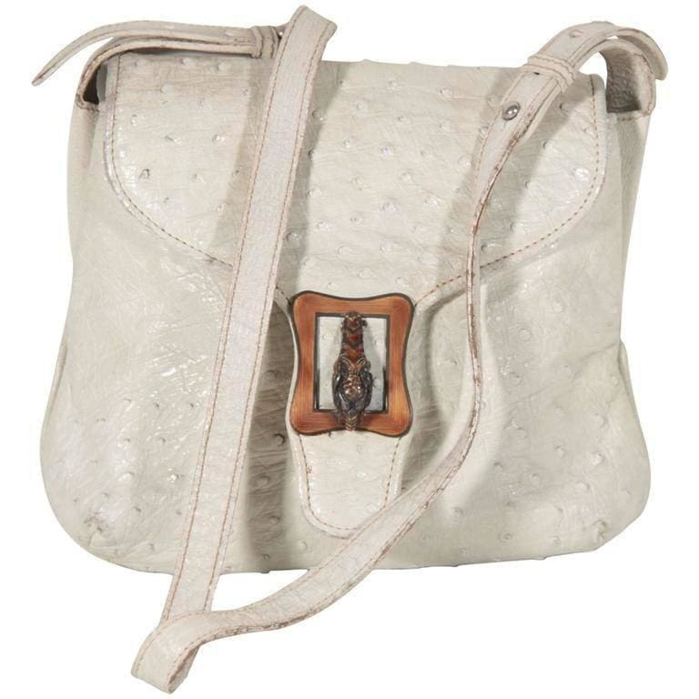 Gucci Vintage White Ostrich Skin Handbag Shoulder Bag Enamel Tiger Opherty & Ciocci