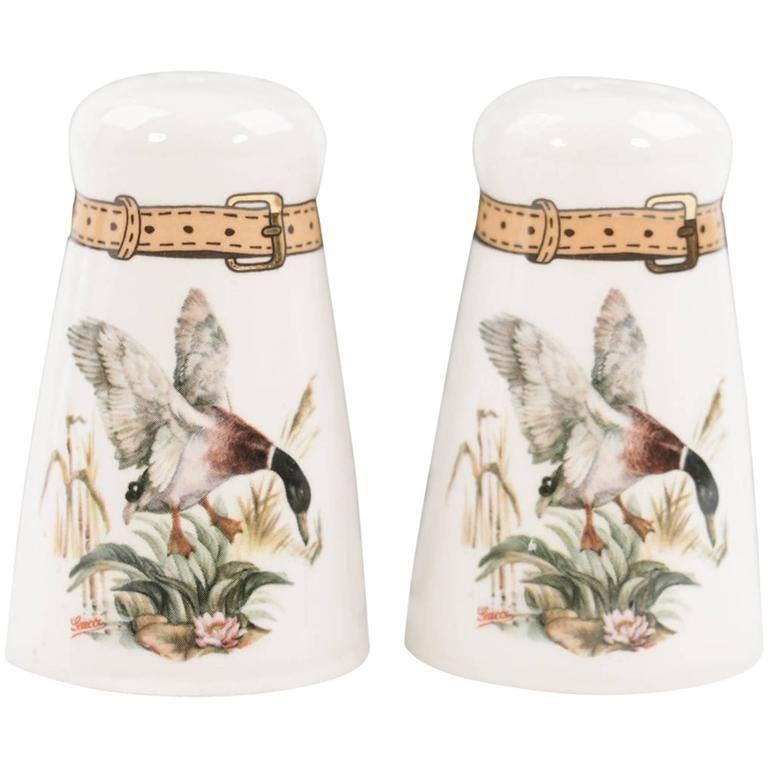 GUCCI VINTAGE White Porcelain SALT & PEPPER SHAKERS Set Flying Duck