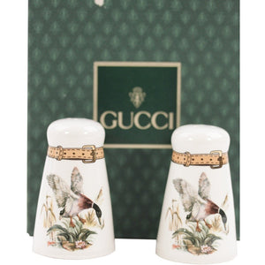 ZZ_GUCCI Italian VINTAGE White Porcelain SALT & PEPPER SHAKERS Set Flying Duck AS - OPHERTYCIOCCI