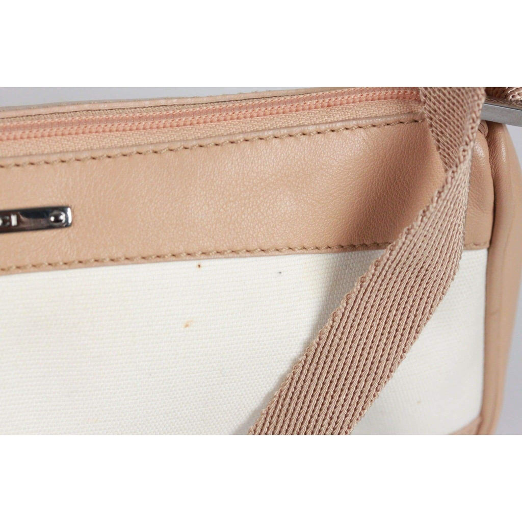 Gucci White & Beige Canvas Leather Small Mini Shoulder Bag Pouch Opherty & Ciocci