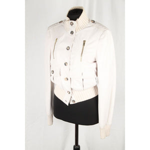 GUCCI White Leather BOMBER MADONNA JACKET Size 40