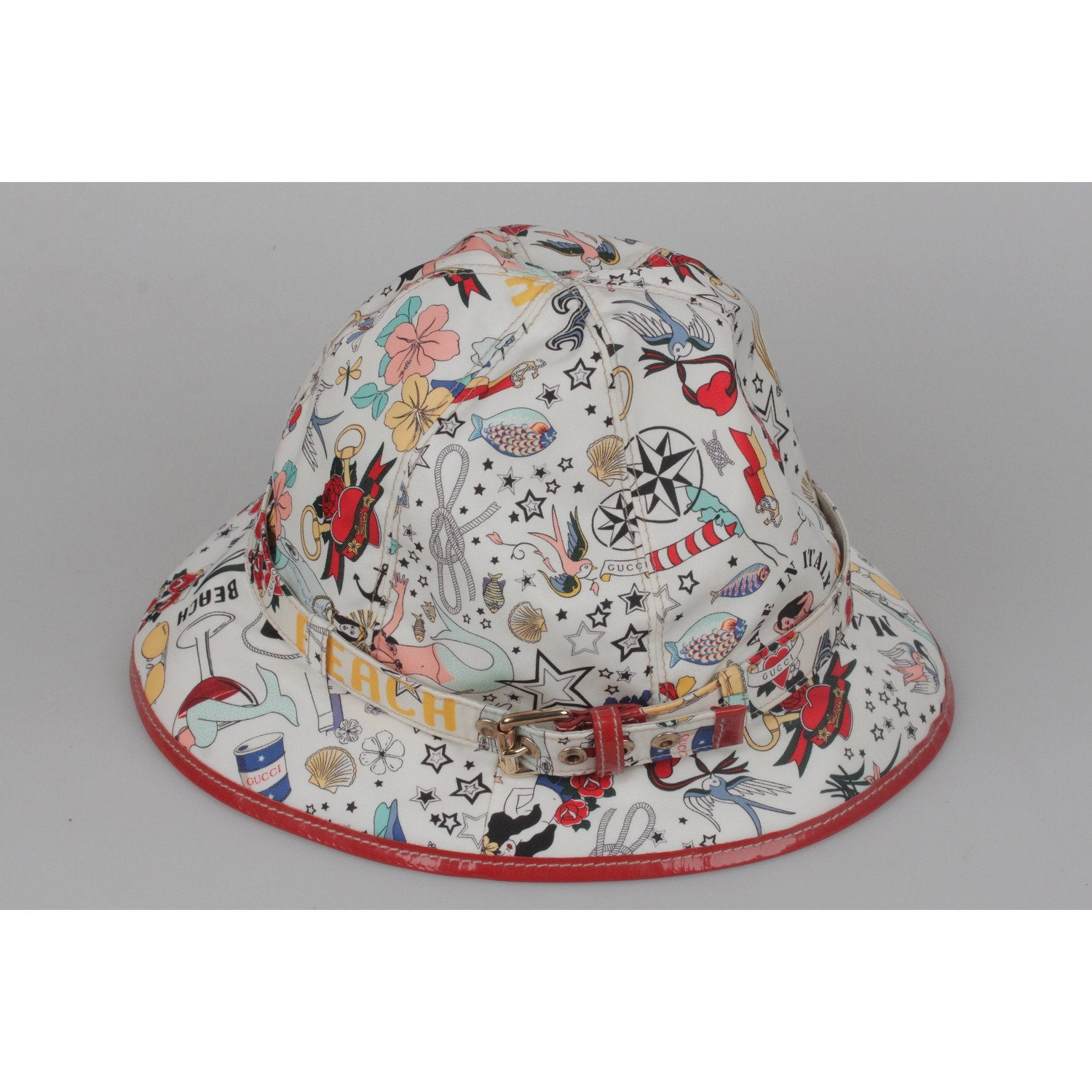 0fd0620e9e2 Opherty   Ciocci - Gucci White Tattoo Print Bucket Fisherman Hat ...