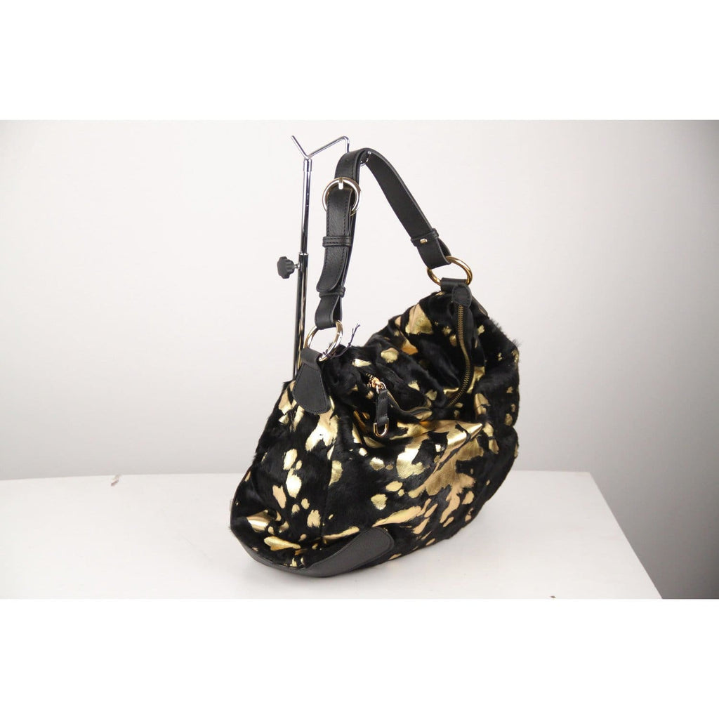 Guias Gold Tone Leather Black Pony Hair Fur Tote Bag Opherty & Ciocci