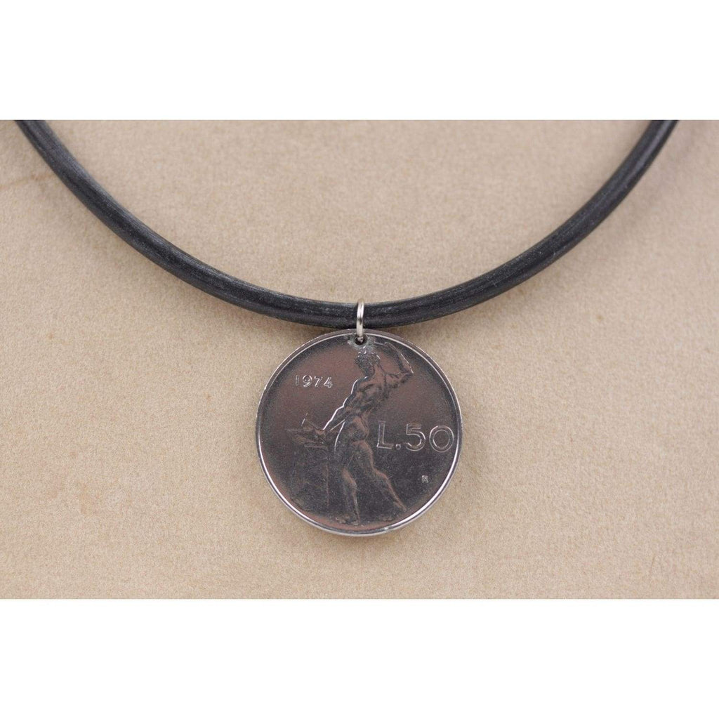 50 Lire Coin Pendant Black Rubber Necklace 1974 Opherty & Ciocci