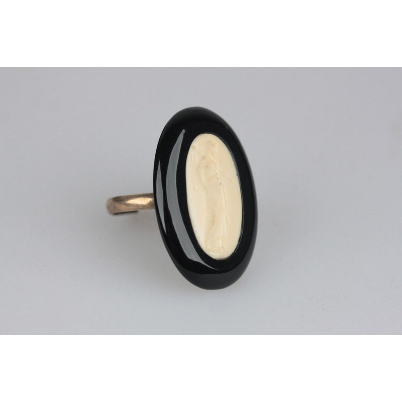 Brass Plexi Resin Oval Bicolor Adjustable Ring Opherty & Ciocci