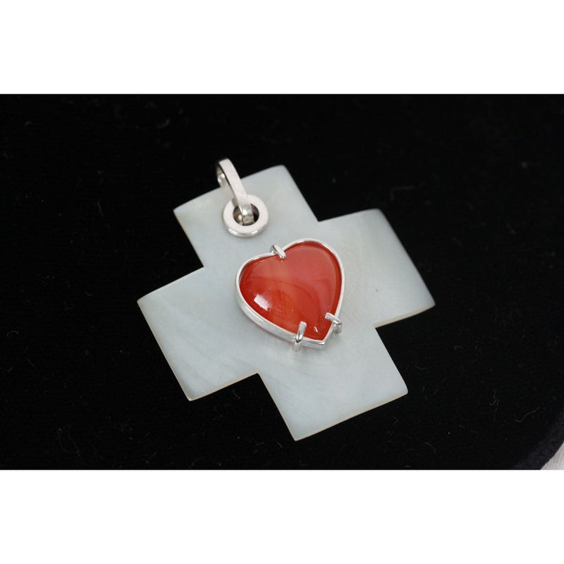 Mother Of Pearl Cross Statement Pendant With Red Agate Heart Opherty & Ciocci