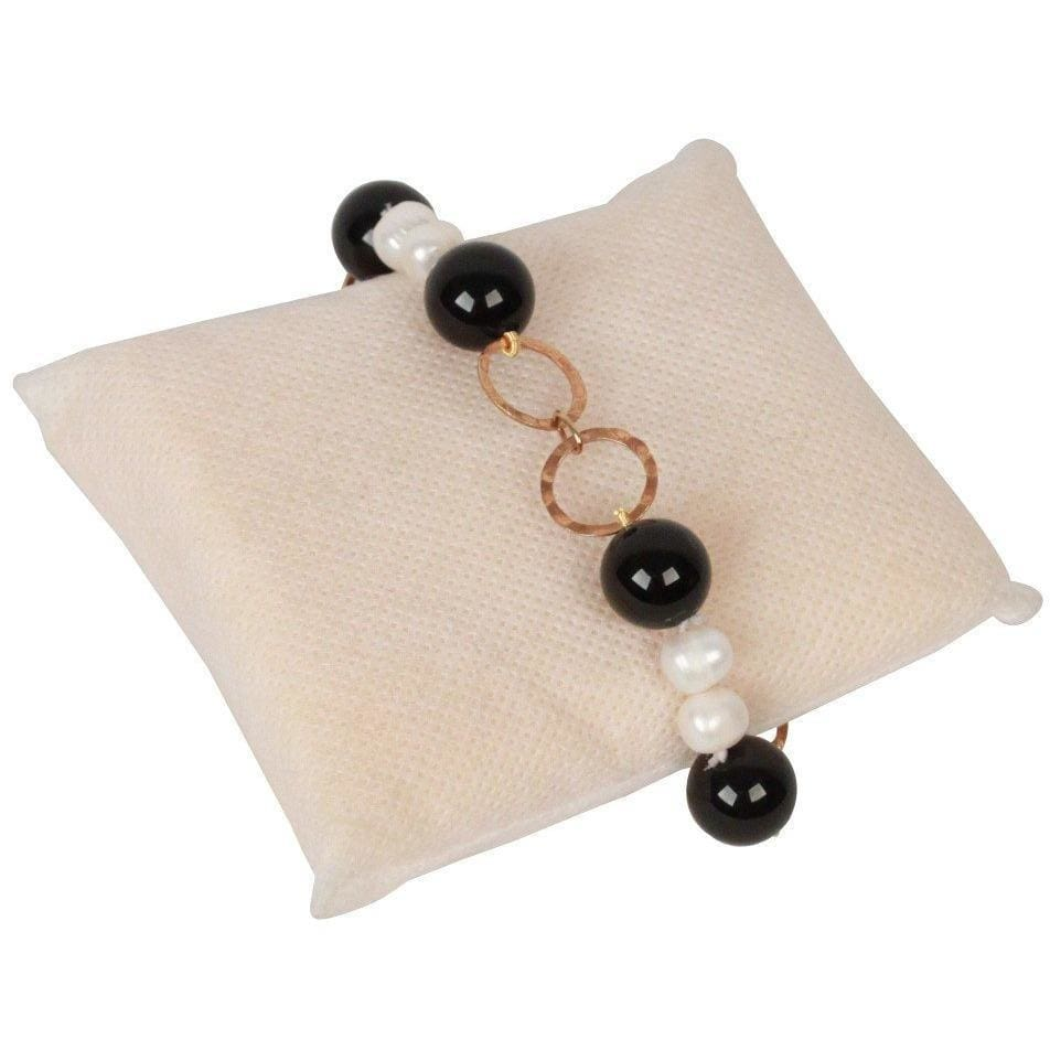 Silver 925 Bracelet With Black Onyx Baroque Pearls Opherty & Ciocci
