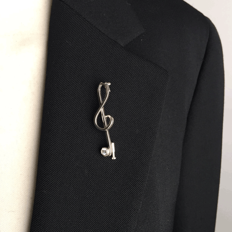Silver 925 Treble Clef Music Note Brooch Opherty & Ciocci