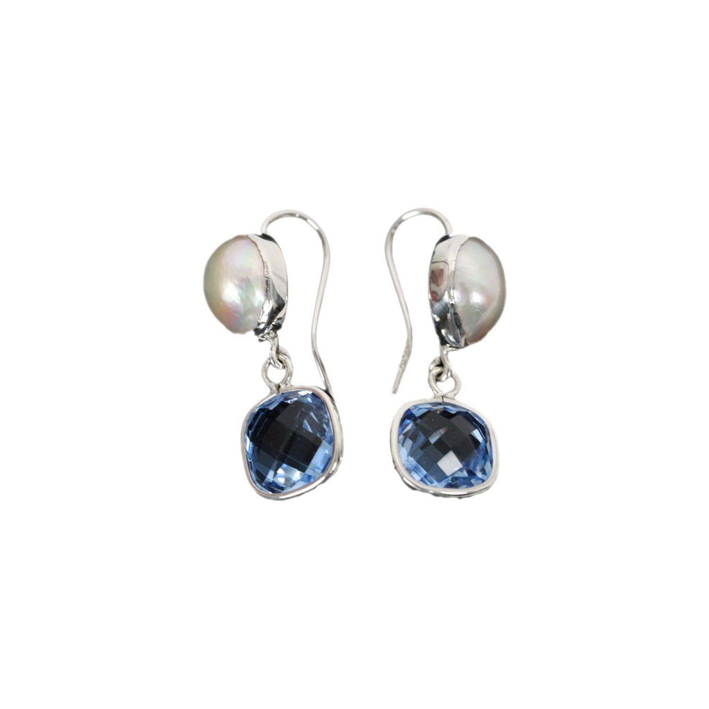 Handmade Sterling Silver Earrings With Faceted Imitation Topaz & Mabe Pearls Opherty & Ciocci