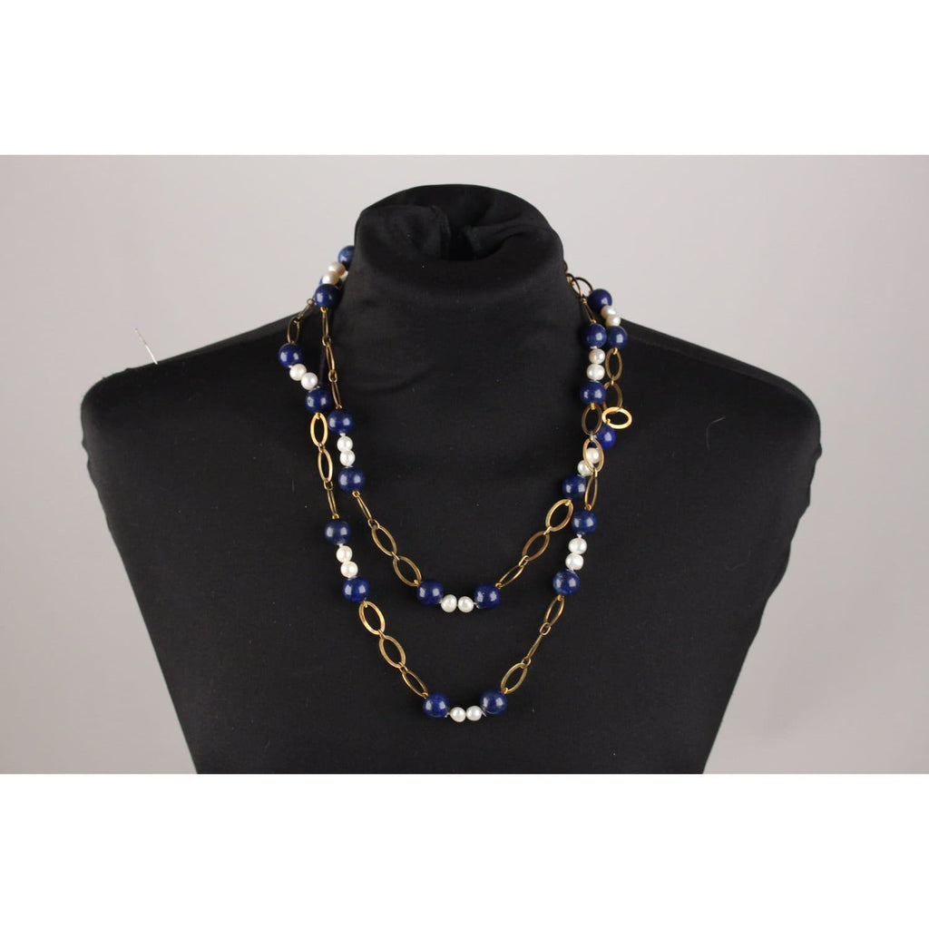 Sterling Silver Necklace With Blue Lapis And Baroque Pearls Opherty & Ciocci