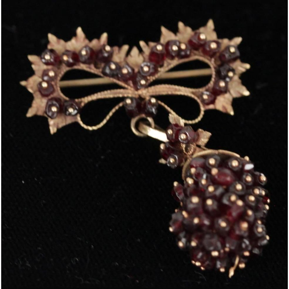 Vintage 1960S Sardinian Filigree 18K Yellow Gold & Micro Granet Beads Brooch Opherty & Ciocci