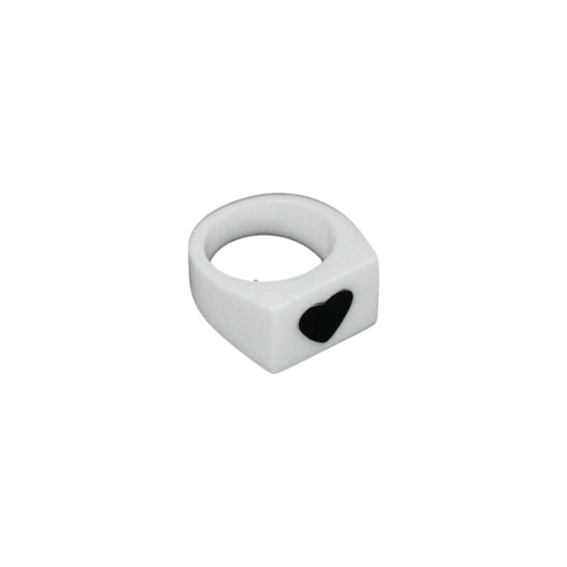 White Resin Ring With Black Heart Opherty & Ciocci