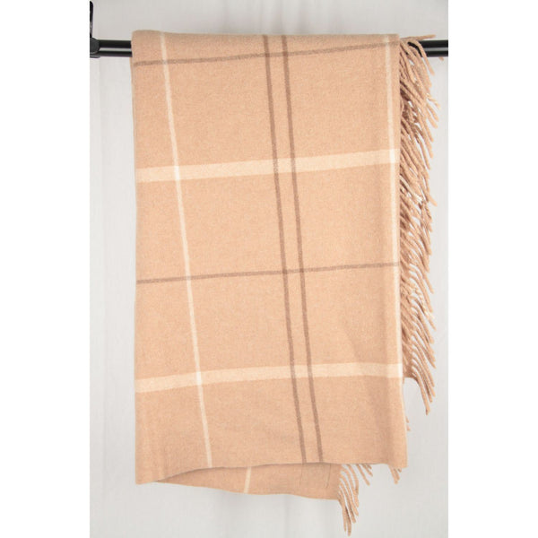 Haussmann Beige Plaid Checkered Cashmere Blanket Opherty & Ciocci