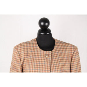 Henry Cottons Checkered Woolcollarless Blazer Jacket Size 42 Opherty & Ciocci