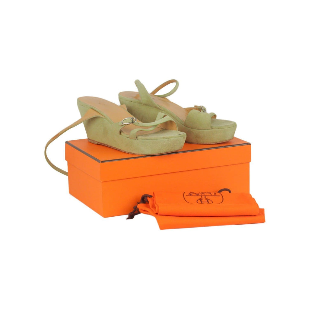 Hermes Green Suede Wedges Strappy Sandals Shoes Size 38.5 Opherty & Ciocci