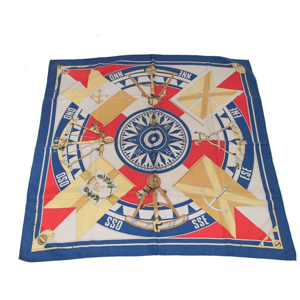 HERMES PARIS Blue Silk Scarf SEXTANTS 1981 by Loic Dubigeon
