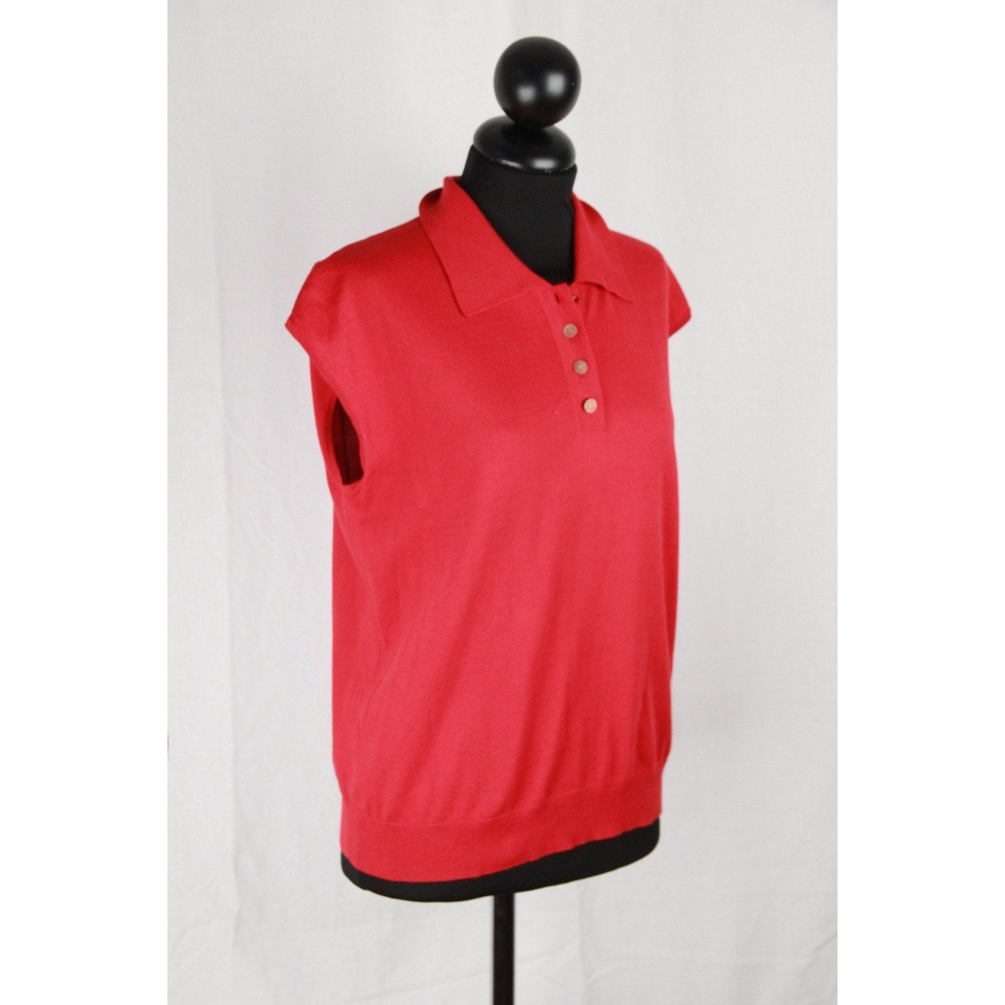 Opherty Ciocci Hermes Red Cotton Cap Sleeve Polo Shirt Size 38