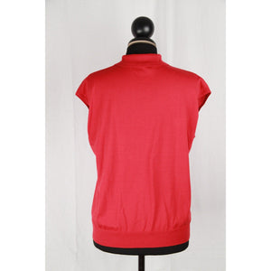 HERMES Red Cotton Cap Sleeve POLO SHIRT Size 38