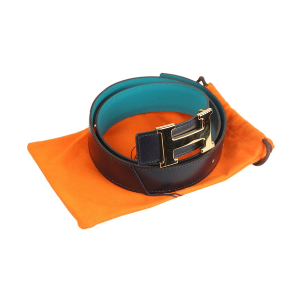 Reversible Belt Gold Metal H-Buckle Opherty & Ciocci