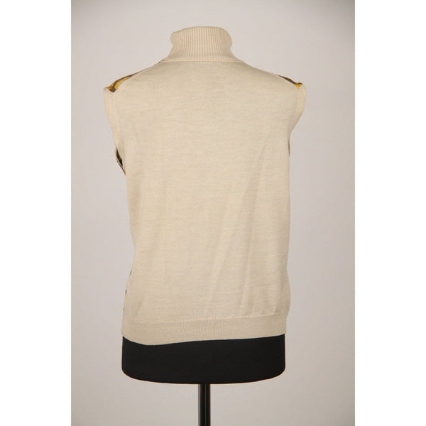 Hermes Sport Beige Tourbillon Sleeveless Jumper With Front Silk Panel Opherty & Ciocci