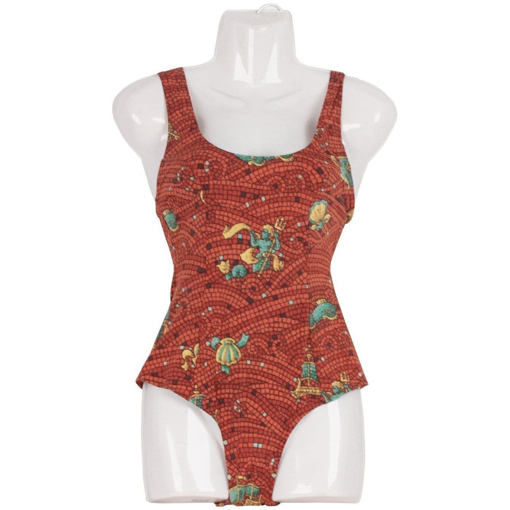 Hermes Vintage Brown Mosaic Print One Piece Swimsuit Size 38 Opherty & Ciocci