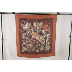 Hermes Vintage Cashmere & Silk Scarf Gibiers 1966 Henry De Linares (90X90) Opherty Ciocci