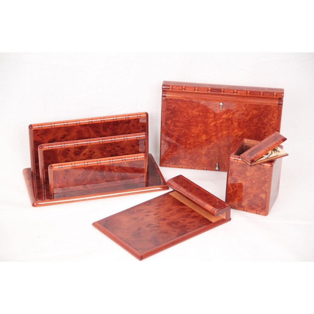 Hermes Vintage Laquered Burl Wood 5 Pieces Desk Set Opherty & Ciocci