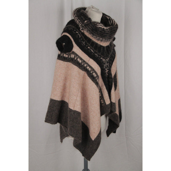 High Beige & Gray Mohair Knit Poncho Sweater Size S Opherty & Ciocci