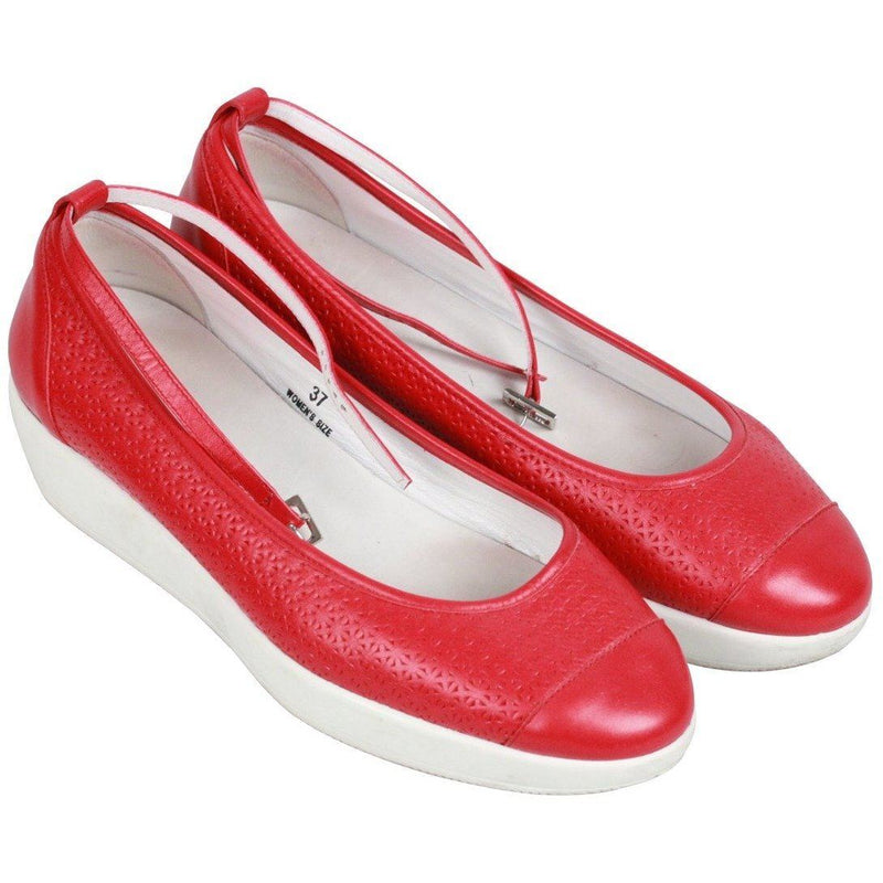 Hogan Red Leather Zeppa Fashion Ballerina Shoes Size 37 Opherty & Ciocci