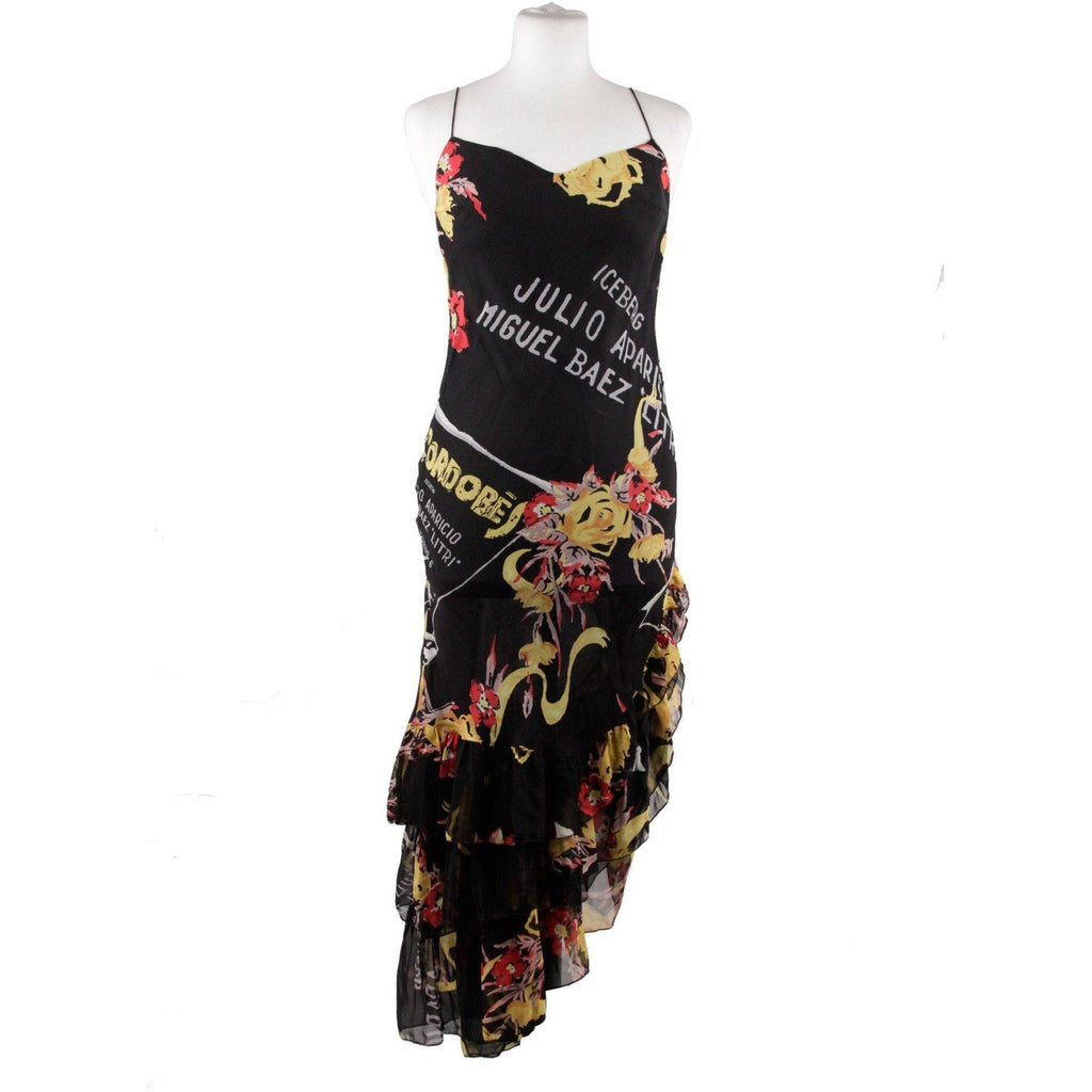 Iceberg Black Silk Matador Printed Asymmetric Dress Size 42 Opherty & Ciocci