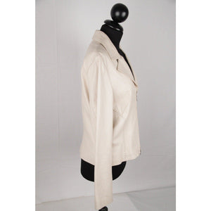 It Collection Ivory Leather Zip Front Jacket Size 46 It Opherty & Ciocci
