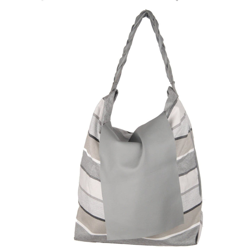 Italian Gray Striped Fabric & Leather Large Flap Tote Opherty & Ciocci