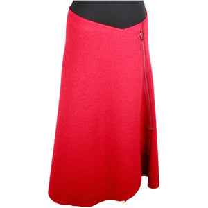 ITALIAN Red Boiled Wool A LINE FULL SKIRT w/ Zip Front