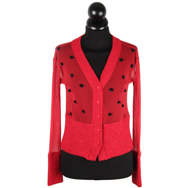 ITALIAN Red Sheer Mesh & Lurex Knit CARDIGAN