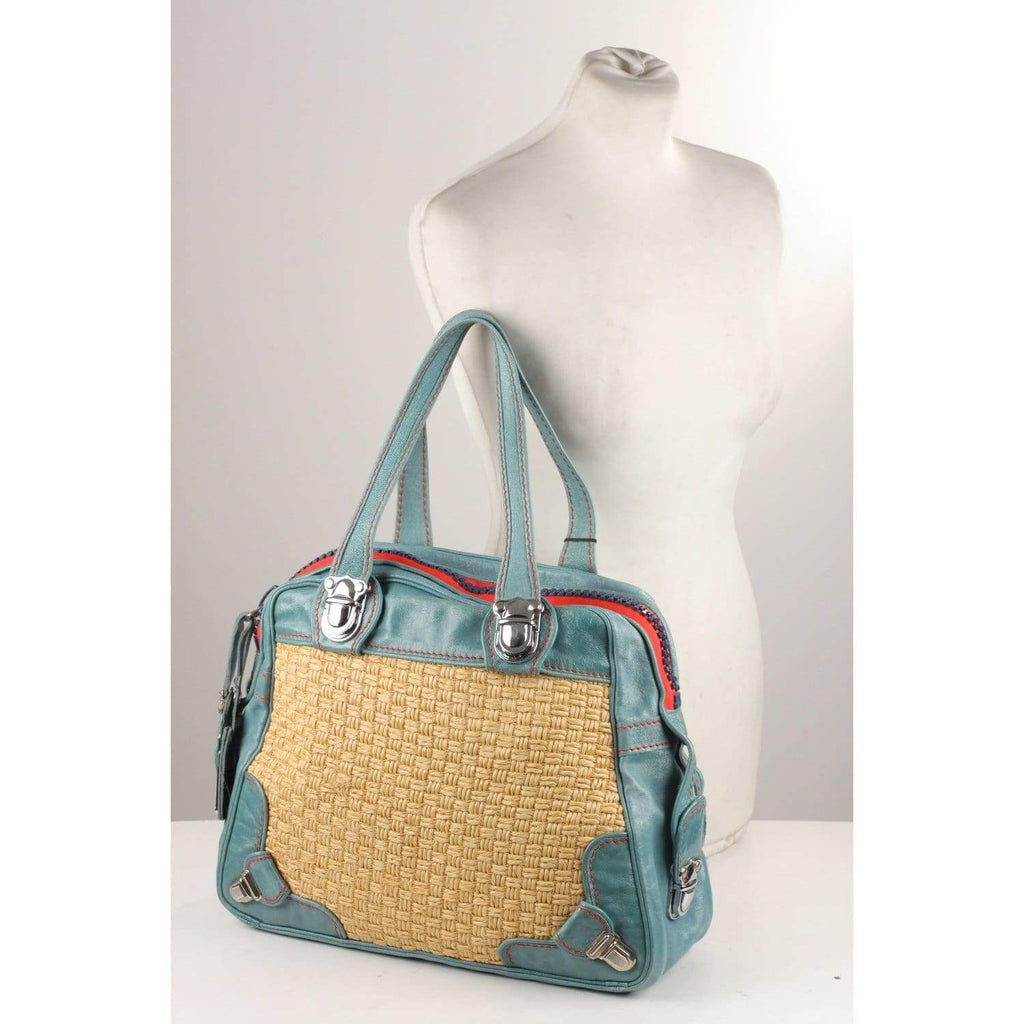 Woven Straw And Blue Leather Tote Shoulder Bag Opherty & Ciocci