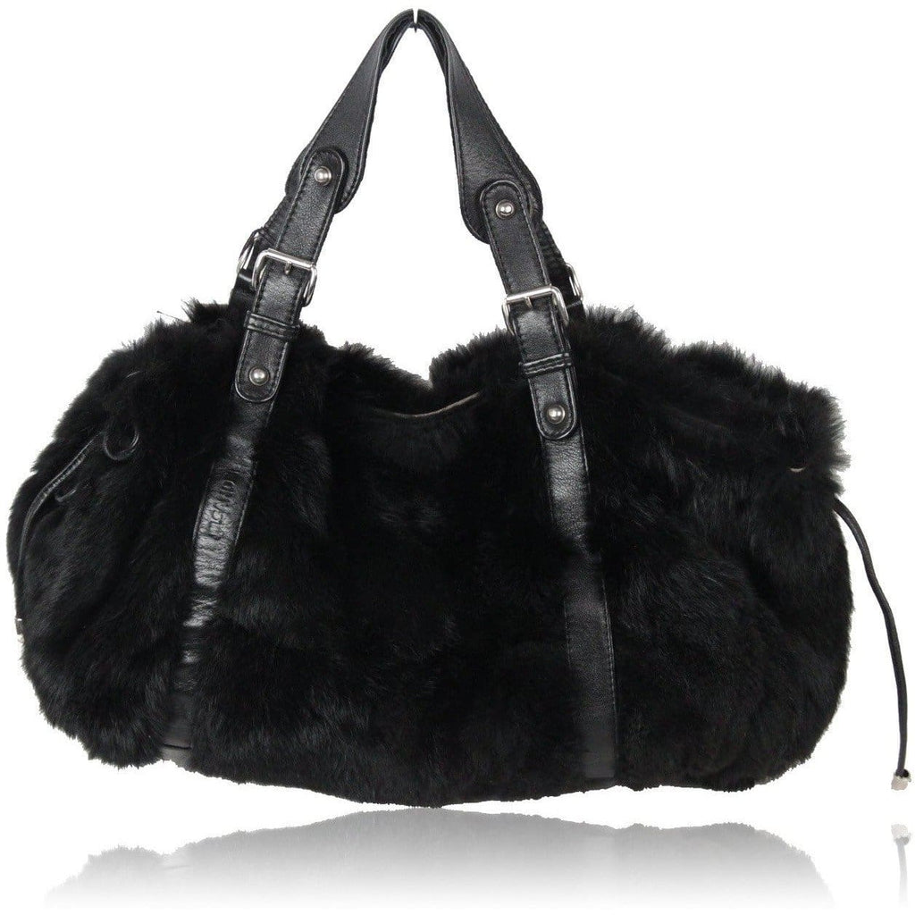 Jil Sander Black Lapin Fur & Leather Tote Shoulder Bag Opherty & Ciocci