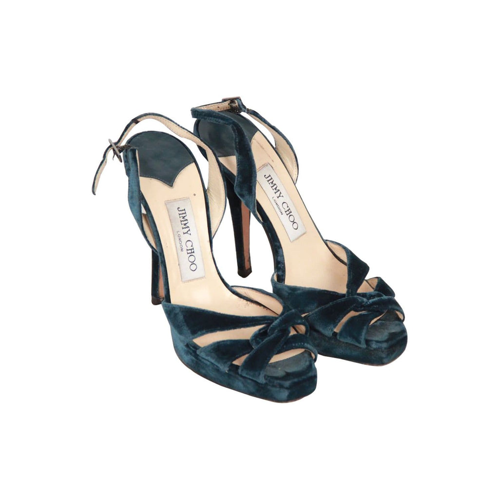 Jimmy Choo Teal Velvet Slingback Sandals Shoes Heels Pumps Size 35 Opherty & Ciocci
