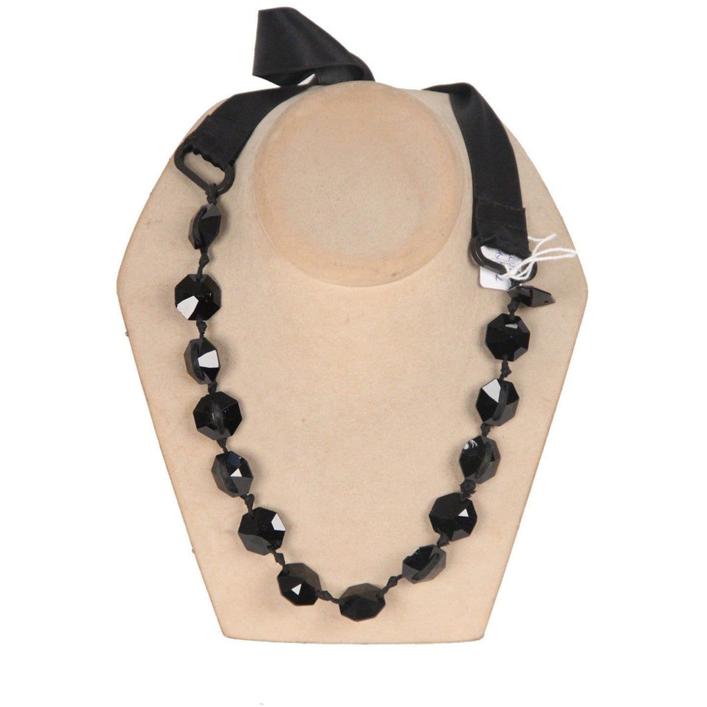 Black Satin Ribbon Faceted Glass Beads Necklace Opherty & Ciocci