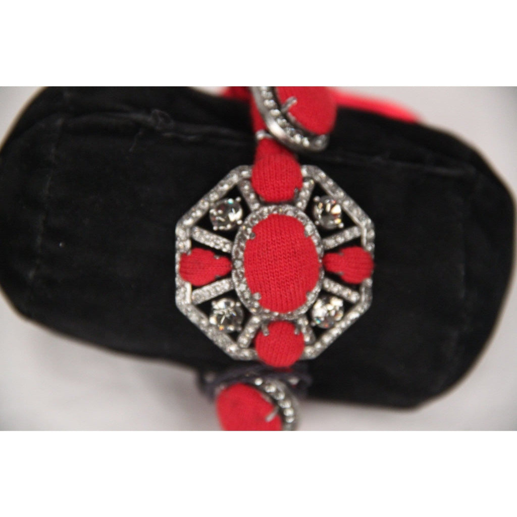 Lanvin Red Satin Ribbon & Rhinestones Bracelet W/ Tie Closure Opherty & Ciocci
