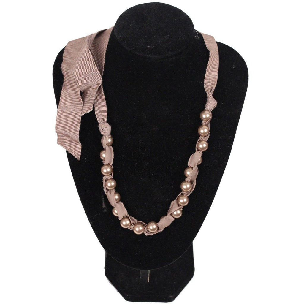 LANVIN Taupe Grosgrain Ribbon & Pearls NECKLACE w/ Tie Closure
