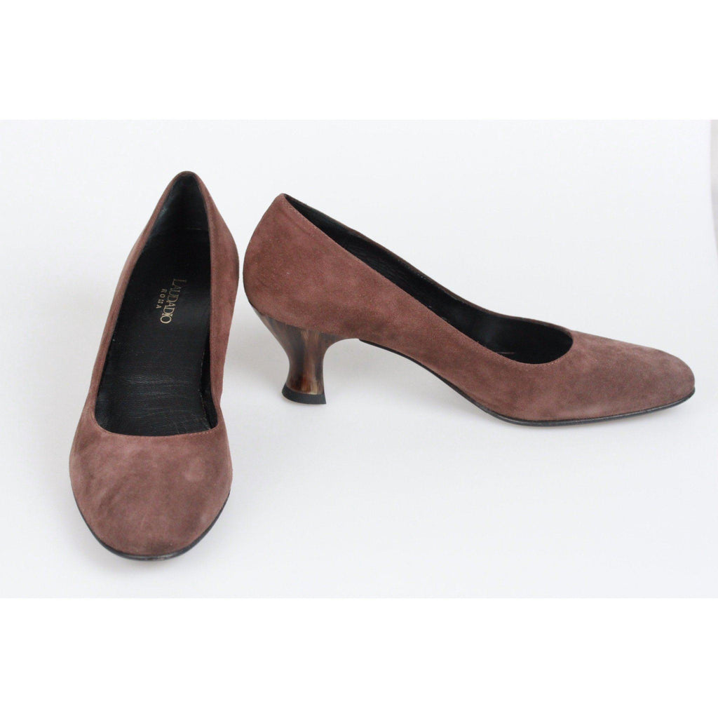 Laudadio Roma Vintage Brown Suede Closed Toe Slip On Shoes Heels Size 37 Opherty & Ciocci