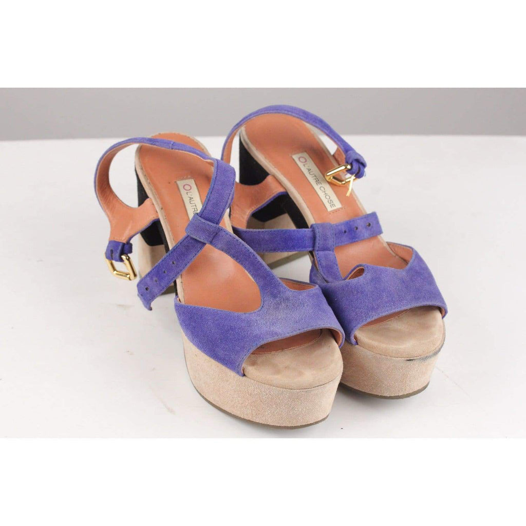 Colorblock Suede Sandals Heels Opherty & Ciocci