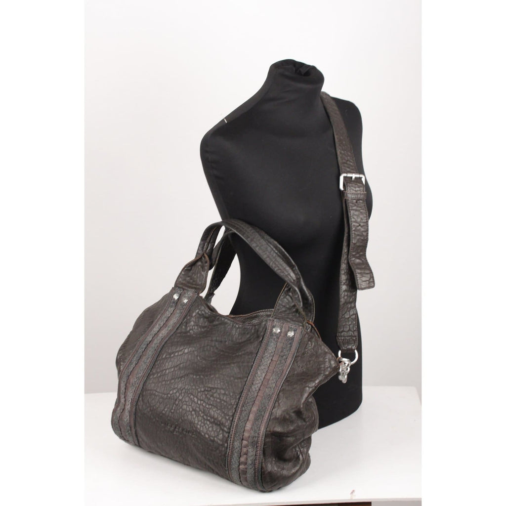 Dark Brown Leather Tote With Strap Opherty & Ciocci