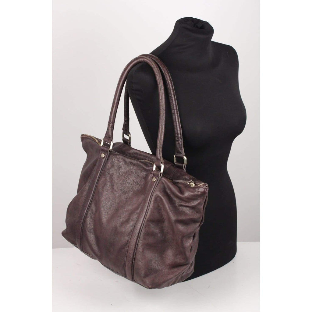Purple Leather Top Handles Tote Bag Opherty & Ciocci