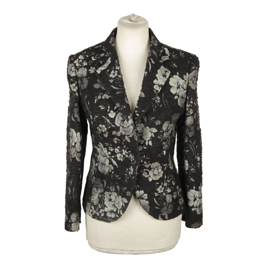 Line X Line Black And Gray Floral Blazer Jacket Size 42 Opherty & Ciocci