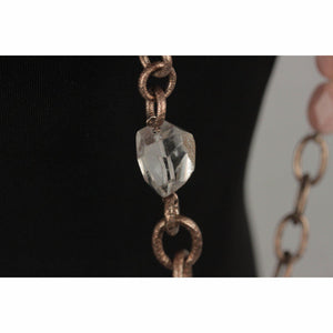 Long Necklace With Rose Quartz & Agate Gemstones Opherty Ciocci