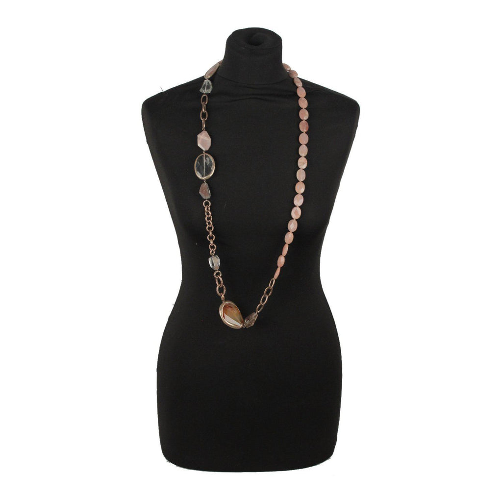 Long NECKLACE with ROSE QUARTZ & AGATE Gemstones - OPHERTY & CIOCCI