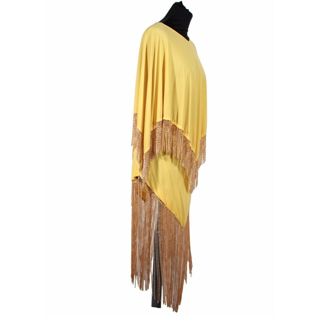 LORIS AZZARO RARE Vintage 70s Yellow CAPE TOP & SKIRT SET Dress Long