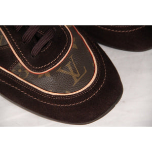Louis Vuitton Brown Monogram Canvas & Suede Sneakers Size 11.5 Opherty & Ciocci